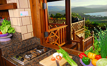 Kitchen with view of Koh Samui in the background